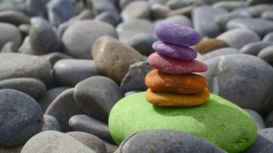 meditation myths - colored balancing rocks
