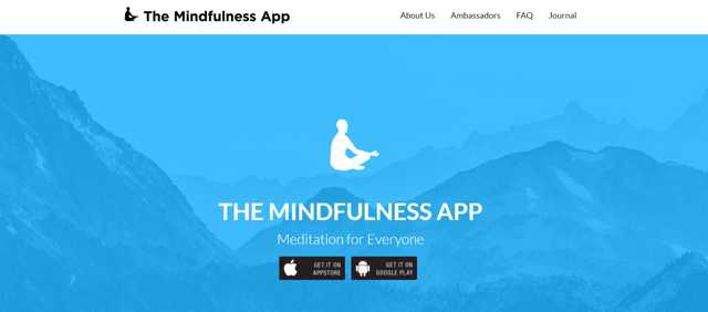 The mindfulness app screenshot