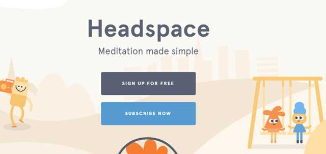 picture of the homepage of the headspace meditation app