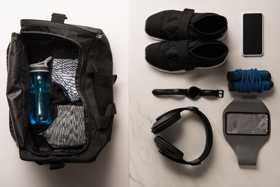 medium sized gym bag with things packed in it as one of the best gym bags for women