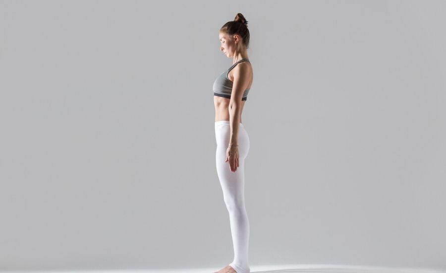 woman performing mountain pose
