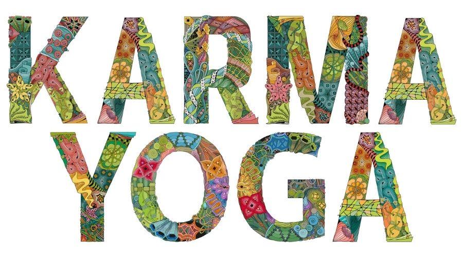 karma yoga words on white background