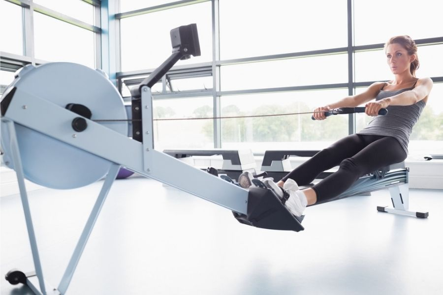 woman on a rowing machine