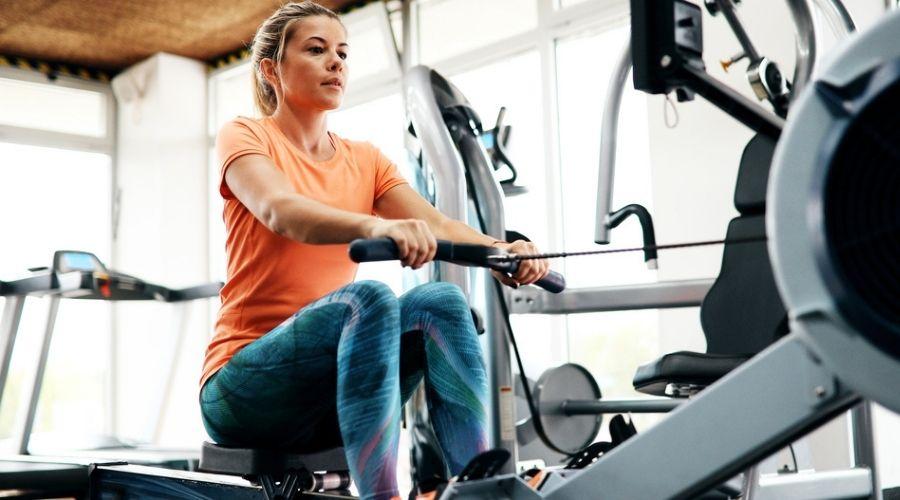 woman on rowing machine