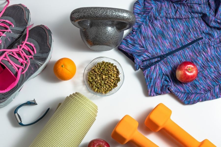 fitness gear on table